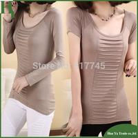 T-203 Hot Sale Womens Tops Fashion 2014 Cotton Short Sleeve Fold Basic T-Shirt
