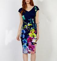 New 2014 women fashion spring summer print dress knee length v-neck waist runched sheath pencil brand casual dresses plus size