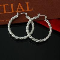 2014 wholesale bamboo hoop hoops earring S925 silver women wedding jewelry large earrings brincos de argola grandes aretes EH222