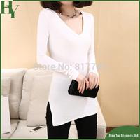 T066 Free Shipping Hot Sale Women's Tops 2014 Cotton Long Sleeve Side Slit T Shirt