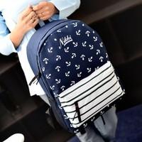 Unisex anchor letter backpack bag men's women's student school bag laptop bag backpack free shipping
