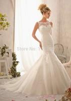 Sexy Fashion mermaid Bateau zipper Sleeveless Applique Lace White Ivory Wedding Dress