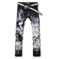 Jeans men Free Shipping colored drawing fashion plus size elastic slim pants Character Girl printed painted denim jeans