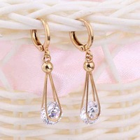 Lady Temperament Clear Crystal Drop Dangle Earring 18K Gold Filled Gown Earring Free Drop Shipping
