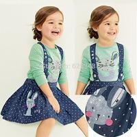2014 Autumn Girls Clothing Sets Rabbbit +Polka Dot Girls Dress+T-shirt+Braces Kids Clothes Sets conjunto de roupa drop shipping