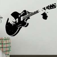 Wholesale Free shipping Wall stickers Home Decor PVC Vinyl paster Removable Art Mural  music guitar  J-040