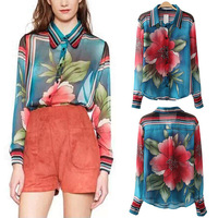 New 2014 Autumn Women Trendy Contrast Color Position Big Flower Striped Print Lapel Long Sleeve Loose Chiffon Shirts Blouse Tops