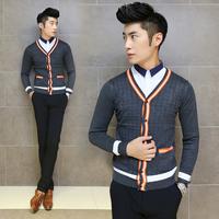 2014 Fashion cardigan slim fit sweater Men long autumn design basic male  KNITTED SWEATER Free Shipping