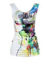 New Blusas  Casual Tank Top  summer new 2014 women t-shirt RIBS 3D Vest tops Skull bone Camisole Sexy Tank top