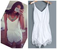 2014 New Arrival Women Fashion White Pom Sleeveless Playsuit Shorts Jumpsuit Ladies Romper Free Shipping #J028