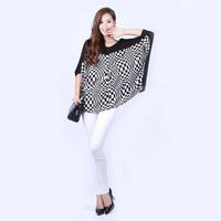 2014 New women's Fashion plus shirts super large loose t shirt tops splice blouse  free shipping
