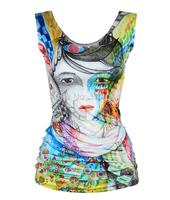 New Blusas 3D Digital Printing Individual Vest T-shirts Basic V-Neck Primer Shirt Femininas Casual Tank Top Fashionable