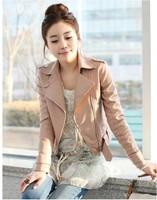 2014 New Fashion Winter Korean Women Short-sleeved Jacket Motorcycle Jacket Pink Pu Leather Women Women Clothing QZP5