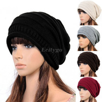 Hot Sell New Unisex Women Men Winter Warm Ski Knitted Crochet Baggy Beanie Hat Cap Beret Free Shipping