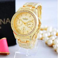 New Arrive 2014 Ladies Watches Women Fashion Luxury Wristwatch Women Crystal Famous Brand Rose Gold Geneva Michel Clock relogio
