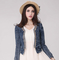 Women's Fashion Vintage Grey Dark Blue Hight Wasit Zipper Faux Pocket Chain Cardigan Jeans Denim Short Jacket and Coat D0007M