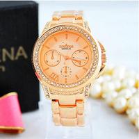 2014 New Fashion Women Rhinestone Luxury Brand Rose Gold Silver Steel Geneva Quartz Lady Watch reloj relogio feminino montre