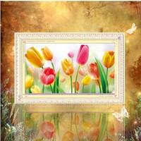 Free shipping 5D diamond Painting Diy kit Round diamond paste diamond draw Home Decoration Tulip Send supporting tools
