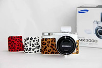 PU Leather leopard print  Half hard Bag case Cover for Samsung NX3000 With Strap camera bag