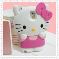 Cute Cartoon 3D Hello Kitty Pattern Silicone Protective Cell Phone Back Case Cover For Samsung Galaxy S5 I9600 Note 3 III N9000