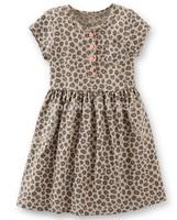 New arrival! wholesale carter's original toddler girl short sleeve animal print dress, 100%cotton,5pcs/lot, free shipping