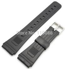 preto 20mm largura de banda de borracha faixa de relógio de pulso cinta de aço inoxidável curvatura do pino + 2 bares primavera(China (Mainland))