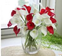 8 Artificial Flowers Bridal Bouquet  Mini Calla Lilies Flowers Real Touch Silk Flowers PU Wedding Decoration Wreaths Home Decor