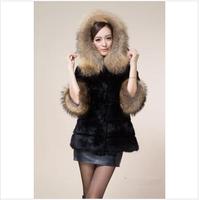2014 Winter Korean Faux fur collar hat  female  long sections fur coat -G043