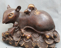 [wholesale_jewelry_wig ] free shipping Lucky China Chinese Zodiac Fengshui Bronze Wealth Year Rich Family Mouse Statue