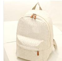 2014 New Korean Women backpack,Lace cute school bags backpacks,Fresh canvas printing backpack women Free Shipping