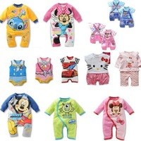 2014  summer brand  baby  romper clothing  boy girl  Cartoon hello Kitty  rompers kids Mickey Minnie jumpsuit C0105