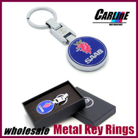 Free shipping factory price 20pcs MIX wholesale Exquisite Alloy chromed Auto keychain keyring Key Chain for SAAB MIX other car