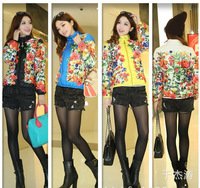 2014 women's printing cotton cloth padded jacket padded coat Korean Parkas