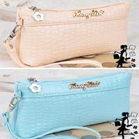 2014 New hot wholesale PU leather metal zip crocodile long women wallets soft Coin Purse fashion women handbag Free shipping