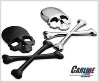 Top quality car cool sticker skull Skullcandy emblem sticker car body car rear  metal sticker decorative 3 color Choose mix