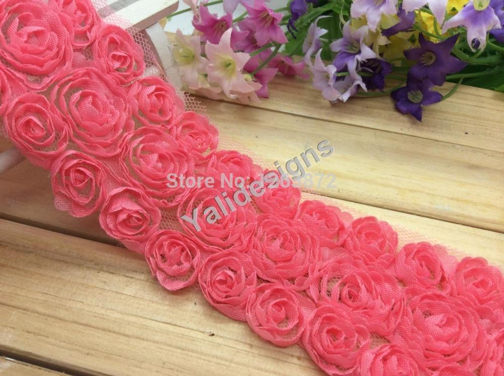 Wholesales 5 yards Watermelon Red Lace Trim Fabric Bridal Shabby Chiffon Rose Flower Grenadine 3D Wedding Mesh 3 Rows Trim YTA38(China (Mainland))