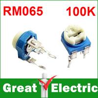 500PCS/Lot Trimmer Potentiometer RM065  100k 104 Variable adjustable Resistors  Free Shipping  #RM104