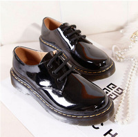 2014 genuine leather flats shoes new arrival fashion women lace punk patent leather low-cut martin shoes black white size 35-39