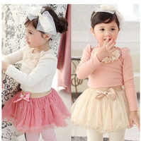 girl's fashion spring autumn suit 2~7 age brand girls lace tutu dress toddler kids clothing sets