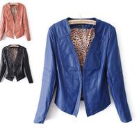 2014 Spring And Autumn New Fashion Pu Leather Women Orange/blue/black 3 Color Women's Noble Temperament Slim Jacket QZP12