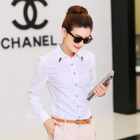 Blusas Mujer 2014 Solid White Women Blouse Formal Office Lady Work Wear Diamonds Turn Down Collar Cotton Full Sleeve Body Shirt