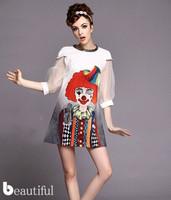 2014 new women clown printed organza dress lantern sleeve casual sexy summer dress free shipping