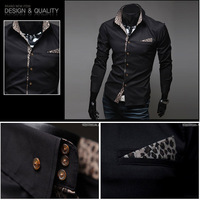 New Arrival 2014 Hot Men's Casual Shirts Cool Slim Dress Shirts Fit Stylish simple Leopard Patchwork Color plus size M-XXL