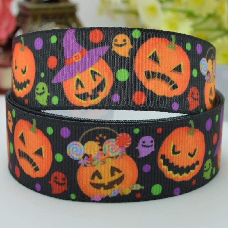 2014 top fashion Halloween pumpkin dots 22mm party decorations craft material printed grosgrain ribbons 50 yard 7/8 roll(China (Mainland))