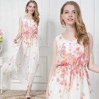 2014 Summer Autumn Women Fashion Slim Elegant Sleeveless Flower Printed Long Maxi Tank Casual Dresses chiffon bohemian dress