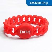 Silicone RFID Wristband RFID Bracelet RFID Tag, RFID Tag  for access control with EM4200 Chip Free Shipping