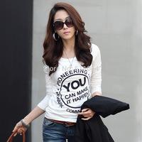 QingYHitz 2014 Korean Shopping Korean fashion round neck t-shirt Slim thin female printed long-sleeved shirt bottoming