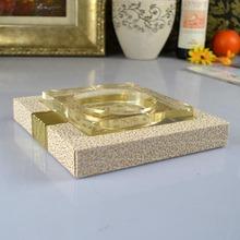 Classic gold ashtray white fashion leather packet ashtray crystal ashtray(China (Mainland))