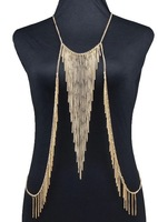 New 2014 Fabulous Gold Waterfall Body Chain Necklace Fashion Statement Harness Necklaces Beach Party Sexy Pendant Necklaces