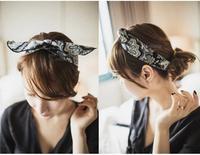 2014 new fabric fashion blue orange soft hair rabbit ears black hair band 6pc